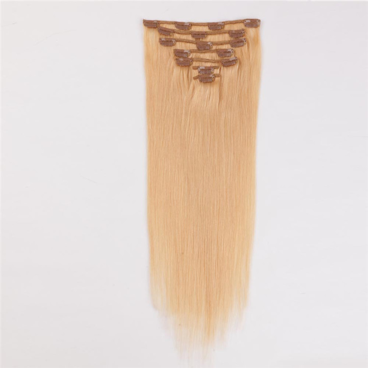 24 inches human hair china clips on hair weft manufacturers QM115