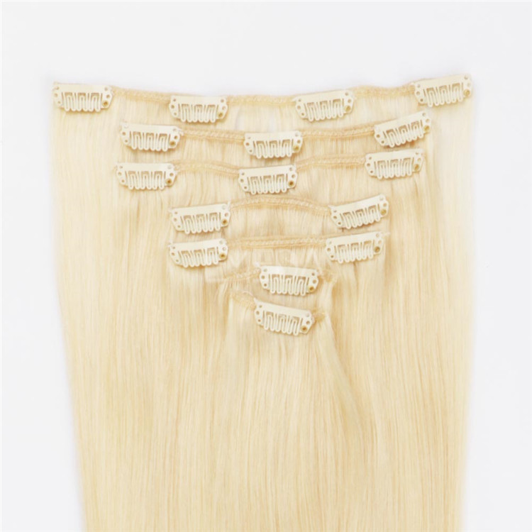 #613 blonde color clip in hair extensions 100% human hair in stock for white women QM002