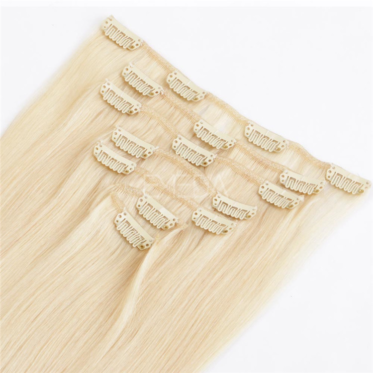 Russian Blonde color straight clip in human hair extensions Chinese factory QM003