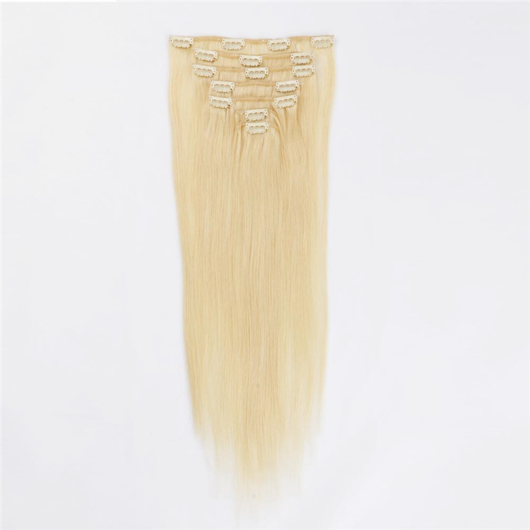 factory price double drawn clip on hair extension wholesale QM078