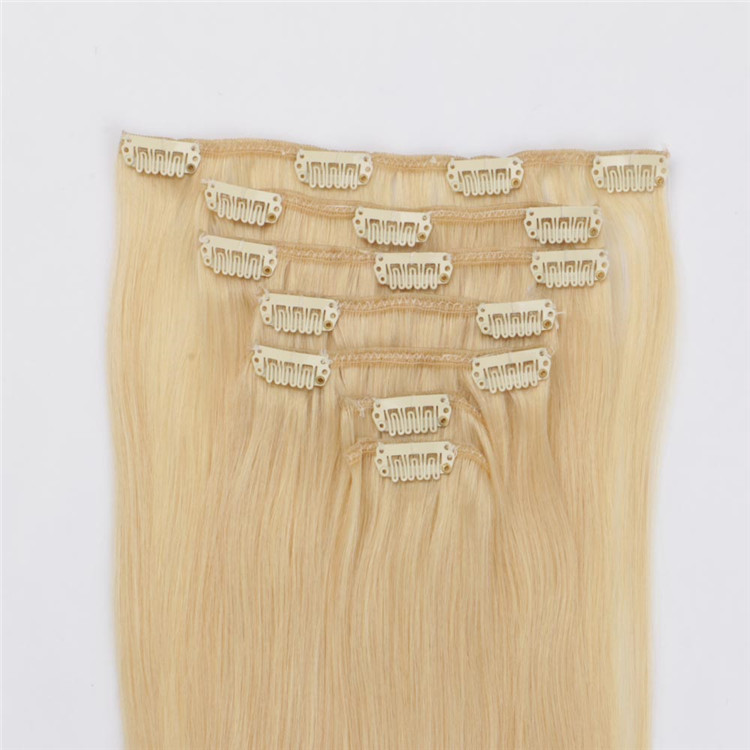 China double drawn women clip in human hair extensions 120g factory QM110
