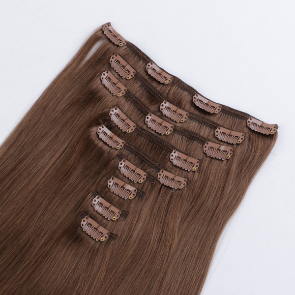 Blonde human clip in hair extensions JF294