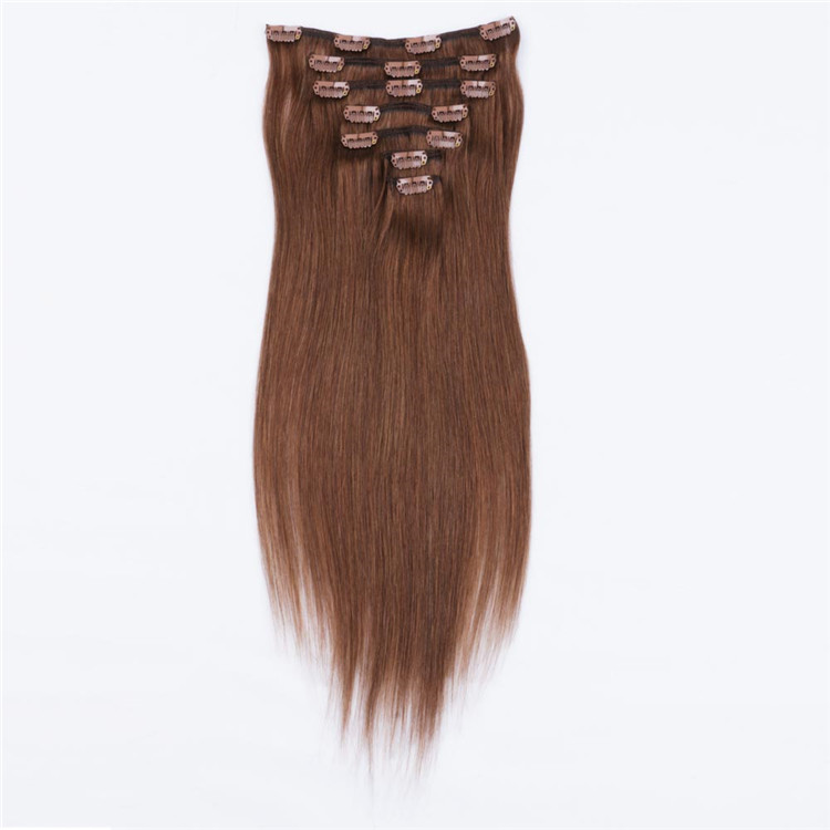 Thick end china brown clip in hair extensions manufacturers QM028