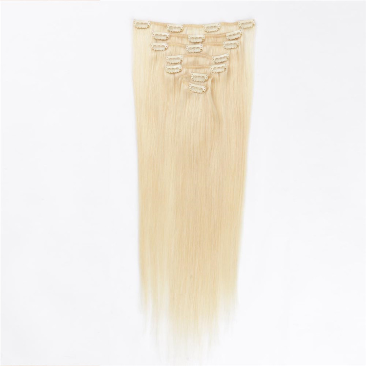 china straight clip in remy hair extensions factory QM034
