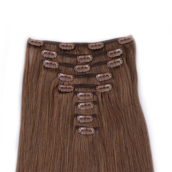 Double drawn remy human hair clip in extensions YJ002