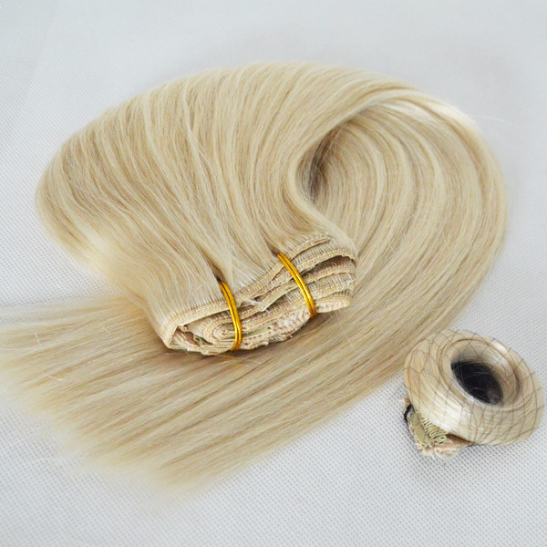Cheap clip on human hair extensions wholesale fashion style 613 color top quality virgin human hair