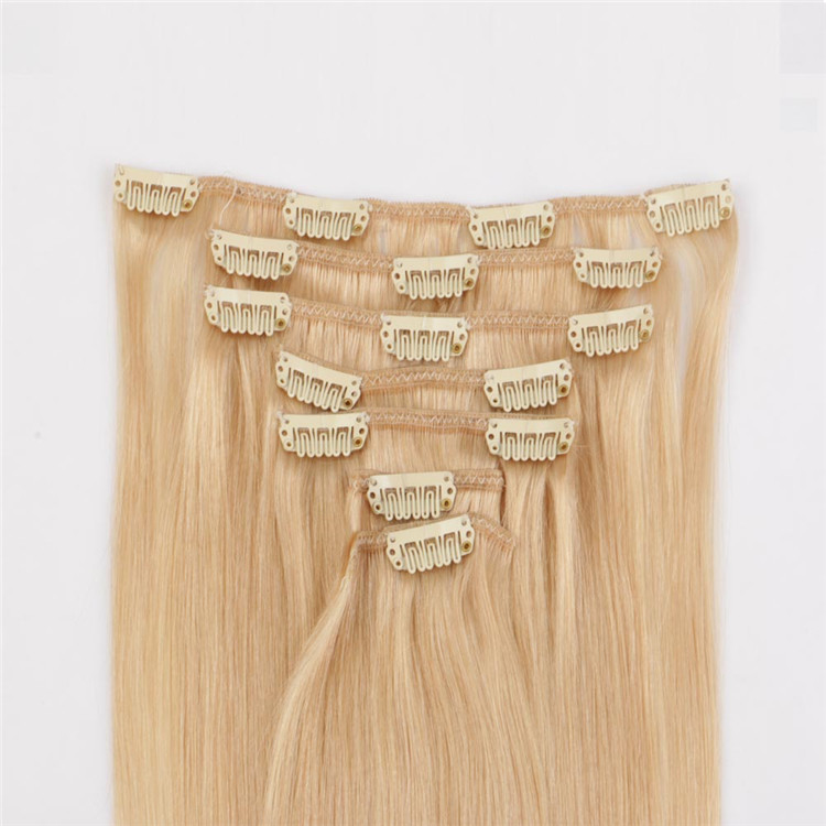Wholesale factory price thick end double drawn human hair clip in extensions factory QM143