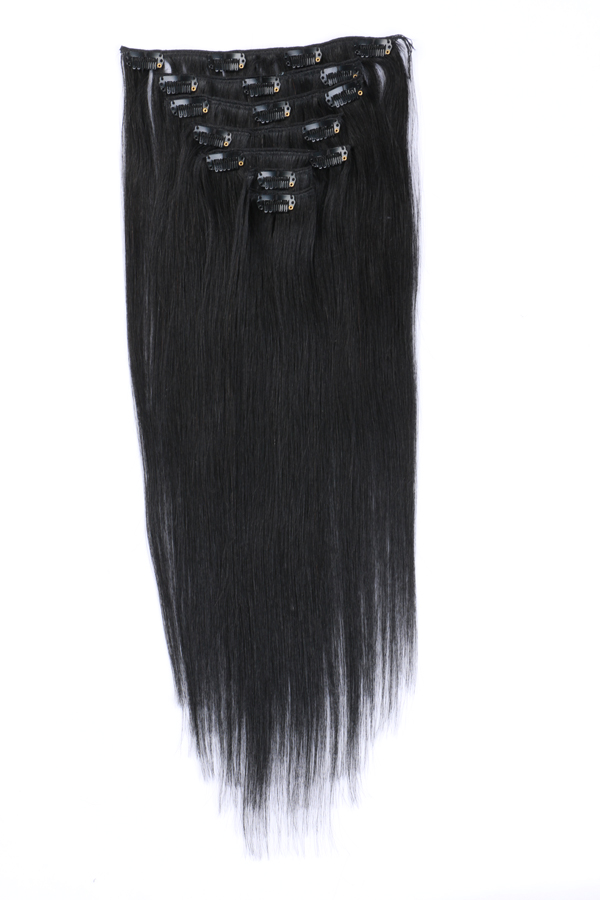 Human remy hair clip in extensions JF007