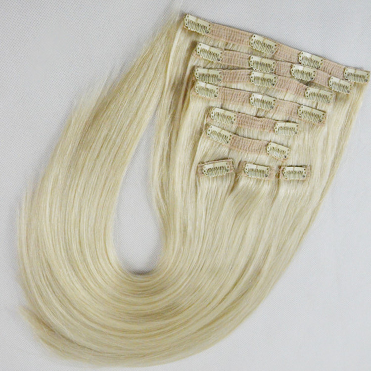 China clip on hair extensions factory wholesale human remy hair virgin hair