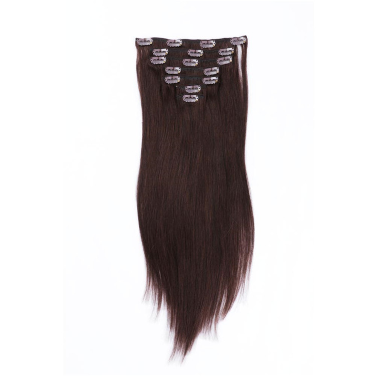 Thick end china brown clip in hair extensions suppliers QM025