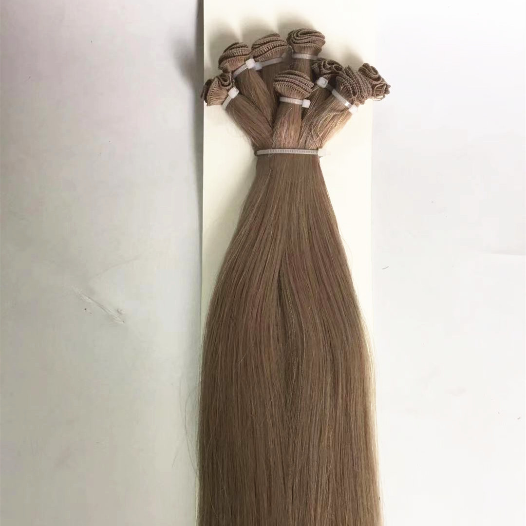 wholesale remy human hair hand tied weft extensions QM238