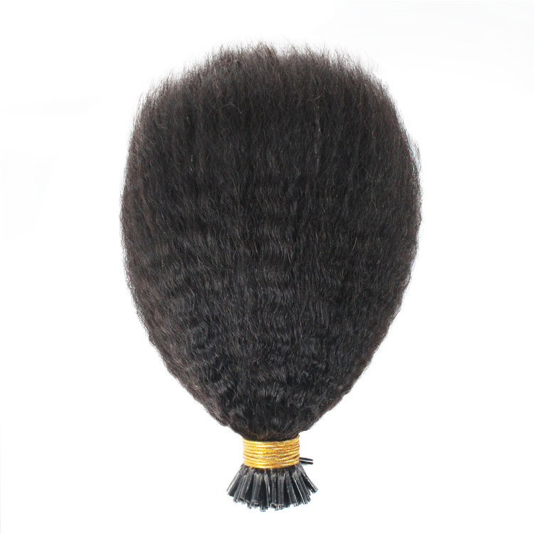 wholesale double drawn kinky straight i tip hair extensions QM179