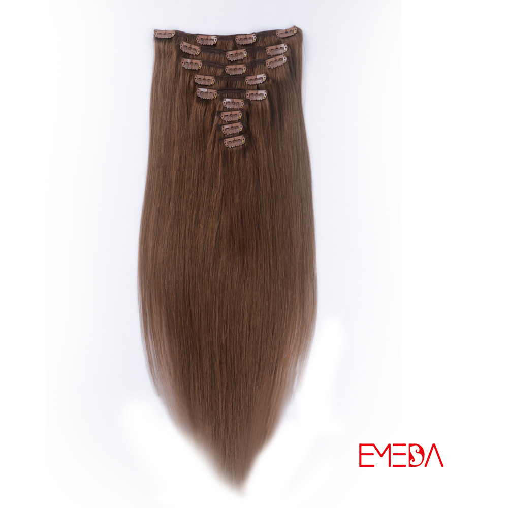 Real hair clip in extensions 100% human hair remy YJ007