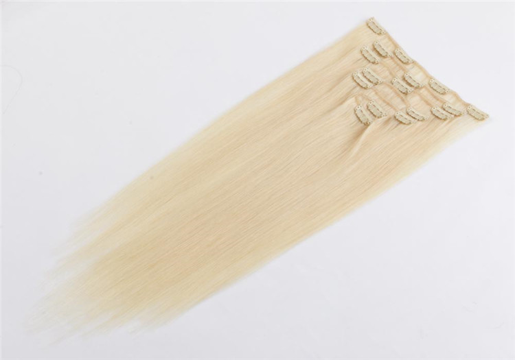 china double drawn blonde clip in human hair extensions manufacturers QM026
