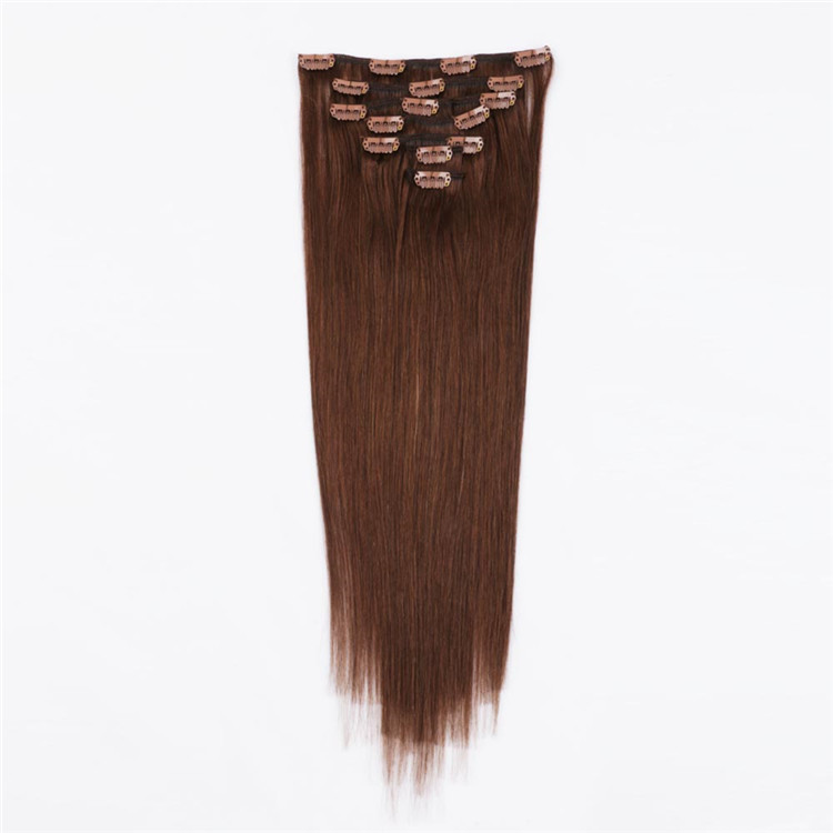 Double drawn china brown clip in hair extensions factory QM027