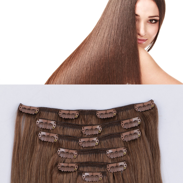 Brown human remy hair extensions JF336