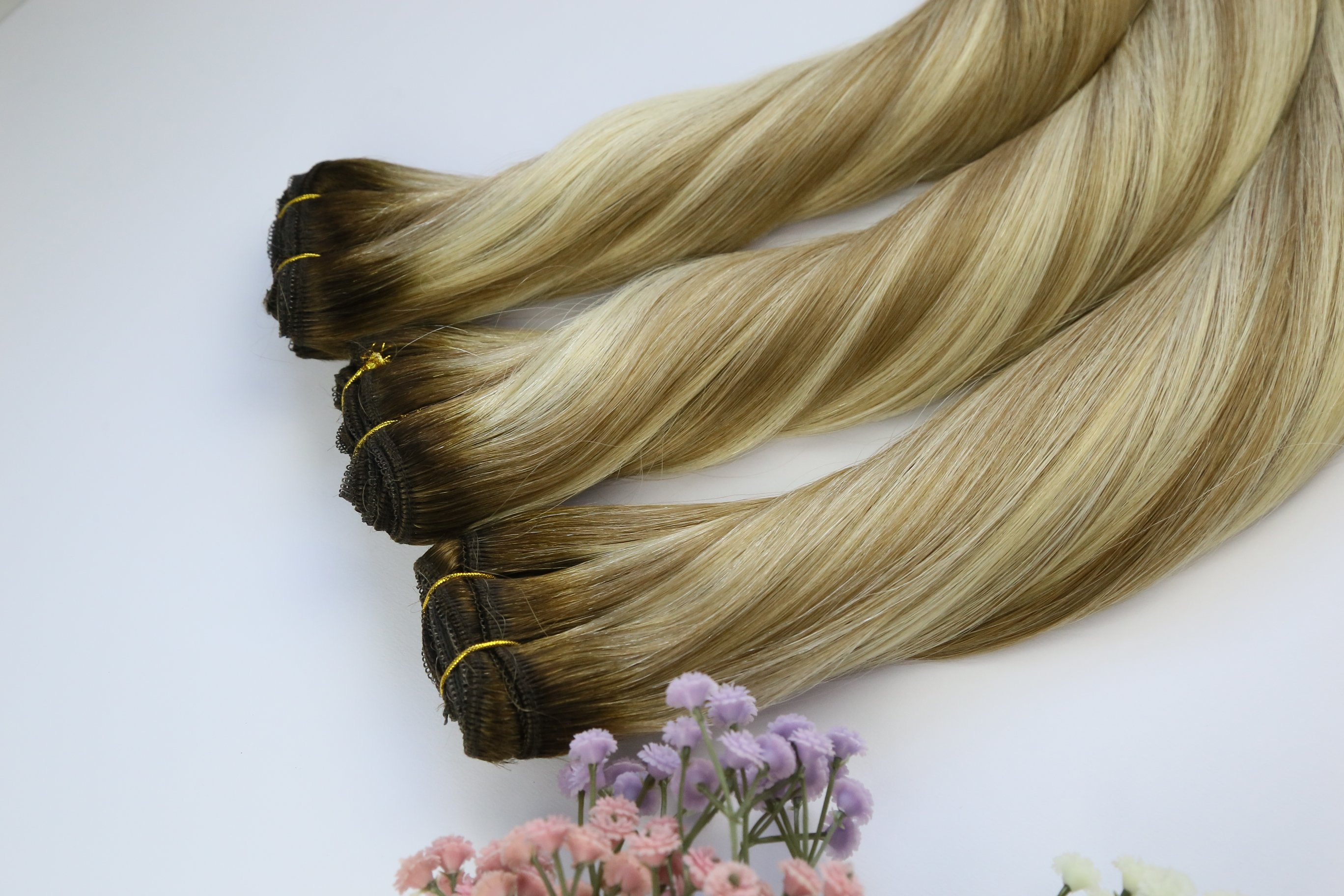 Wholesale china hand tied hair weft double drawn manufacturers QM247