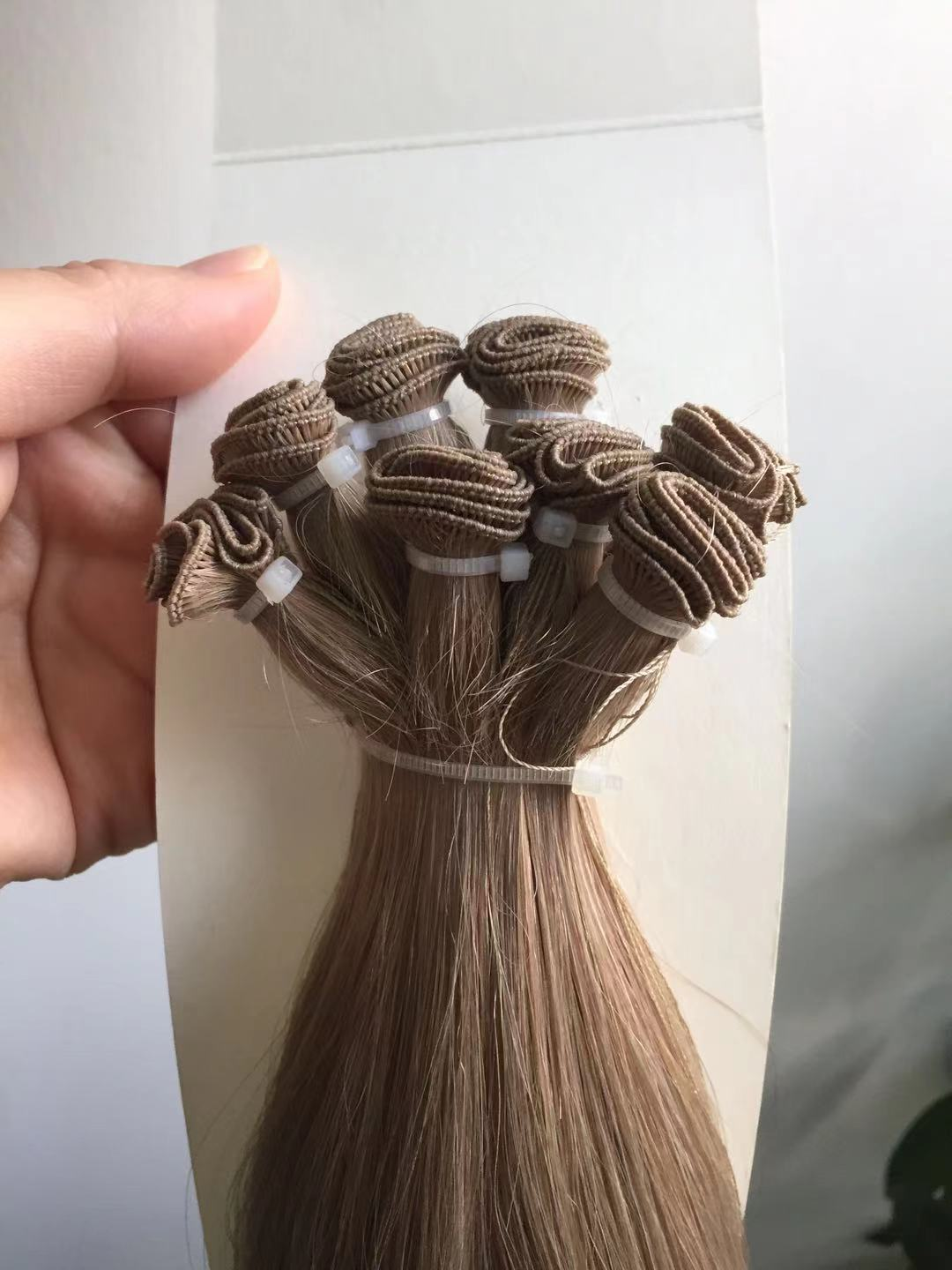 Russian hair cuticle aligned hand tied weft hair extension QM250